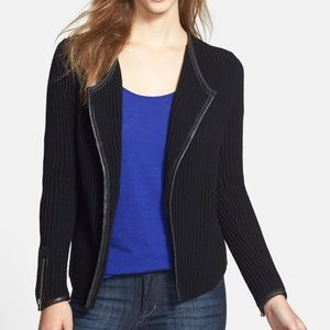 Lucky Brand Ribbed Leather Trim Sweater